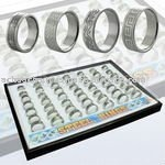 Display board with 49 pieces of assorted steel carving rings