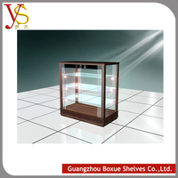 Popular Square Crafts Wood and Glass Display Case with Lighting