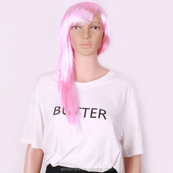 2015 Hot sale cheap 100% synthetic Cosplay long straight cosplay Pink wig