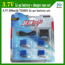 high discharge rate 20C syma X4 752025 3.7v 200mah rc helicopter battery
