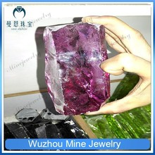 Rough cubic zirconia material/rose red rough cubic zirconia for fashion jewelry gemstone
