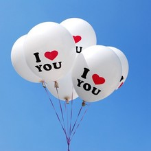 """50pcs/lot Lovely 12inch """"L LOVE U """"Printed Latex Ball Ballons For Wedding Birthday Valentine's Day Party Decoration"""