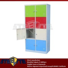 kids wardrobe designs/4-tier 8 door corner colorful lockers for kindergarten with cam locks