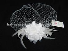 White big flower/feather Wedding bridal hair veil