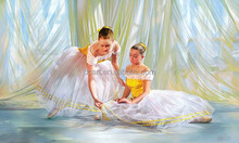 Dance Girls Painting Ballet Dancer Oil Painting Ballerina Painting