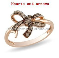 highest quality 925 sterling silver bowknot ring with hearts and arrows cz diamonds ,bow tie shape ring
