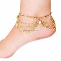 2015 new design fashion girl foot chain,rhinestone chain foot jewelry