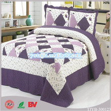 Rich Embroidery Purple color bedding set Zhejiang Hometextile made in china