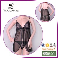 sexy open quick dry transparent factory in China lingerie nightwear shop