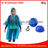disposable ball poncho, navy poncho with ball packing