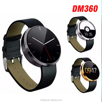 2015 Factory 1.22 inch android Smart Watch with heart rate monitor bluetooth smartwatch DM360 for IOS Android Phone Watch