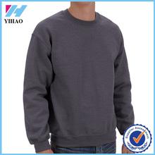 Yihao latest design mens pullover plain hoodie custom 100 cotton long sleeve sweatshirt without hood