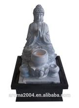 polyresin decoración de hogar religiosas estatua de buda de la fuente
