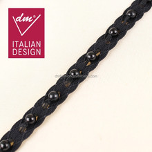 China new arrival design black crocheted french beaded lace