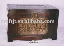 New Design Large Leather-covered wooden trunk