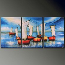 Abstract Landscape Painting of boat on sea handmade for bedroom