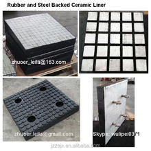 high wear resistant rubber ceramic liner, 92% al2o3 alumina ceramic rubber chute lining,chute ceramic wear plate
