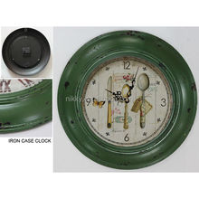 kitchen themed metal wall clock home decor accent