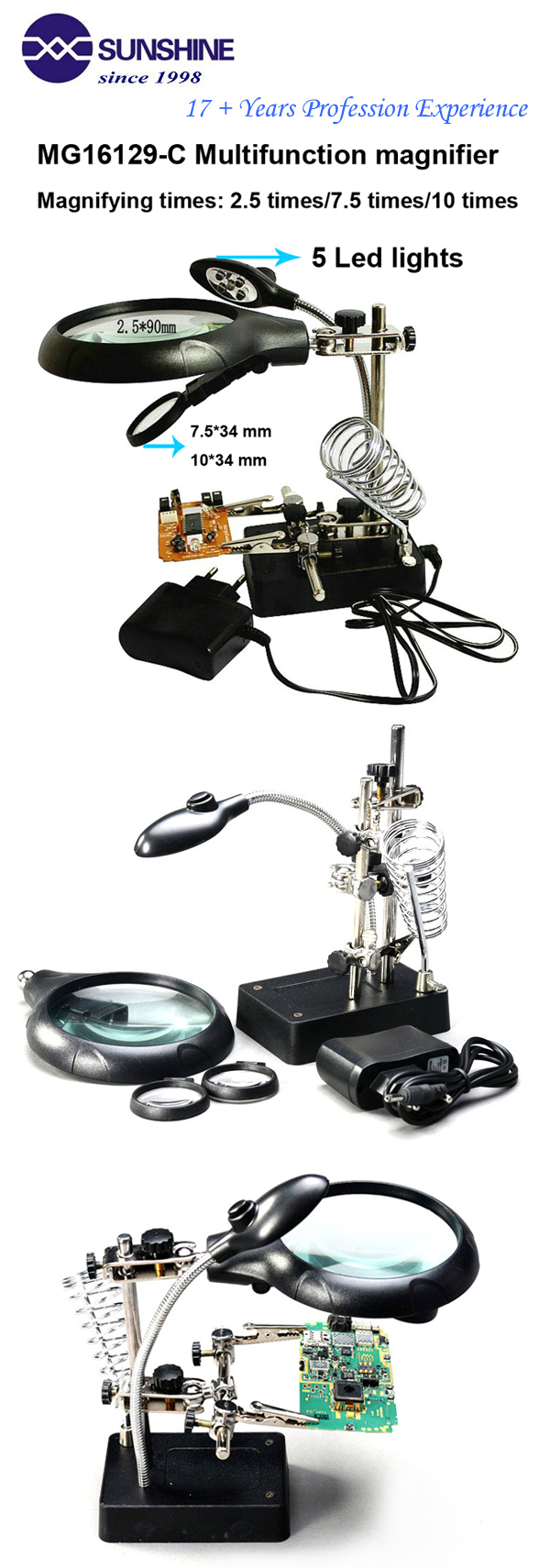 Multi Functional 25x 75x 10x Led Magnifying Glass With Pcb Chip Kaca Pembesar Lamp Lampu Service Robot