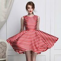 New fashion summer sleeveless empire waist puffy stripe mini dress 2015 for teenagers party