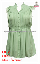 moda blusa sin mangas de encaje recortado