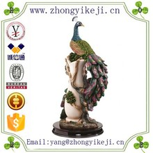 2015 chinese factory custom made handmade carved hot new products resin home decor interior decorating of peacock statue