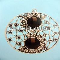 Gemstone jewelry making charms alloy round hollow pendant