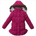 4y-10y meninas roupas de inverno cor sólida menina crianças jaquetas com hoddy