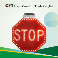High quality Solar flashing led stop traffic signs