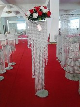 elegant tall hot decoration crystal flower stand for wedding centerpiece decoration