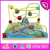 2015 New kids wooden bead maze toy,popular children wooden Manipulative bead maze toy,baby wooden toy learning cube W11B052