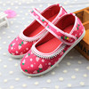 Soft rubber sole babay shoes 3-9years girls school shoes printing strawberry cotton fabric shoes