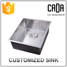 304 stainless steel handmade single rectangular bowl kitchen sinks 380*440mm with normal overflow hole