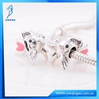 925 sterling silver european beads enamel cute fish charms