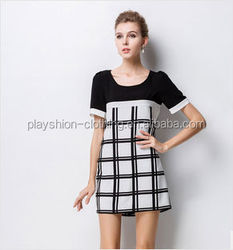 Trendy and Elegant Women Fashion Color Block Grid Dress Yound Lady Party Dress