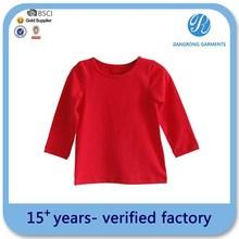 Hot Sale Long Sleeve Kids Girls T Shirt Red T Shirt Wholesale Cotton Kids T Shirt