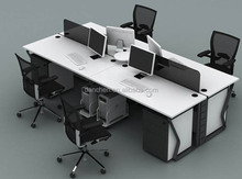 Steel leg panel desk screen 4 employees a combination of office furniture