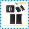 black genunine cow leather wallet for iphone 5 screens