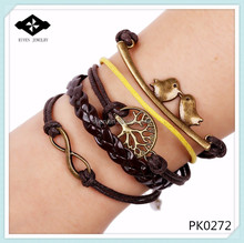 PK0272 Popular Infinity Forever Life Handmade Multi-layer Woman leather bracelet tree