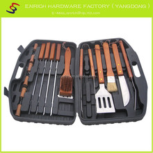 18pcs bbq set ,wooden handle bbq tools,blow case