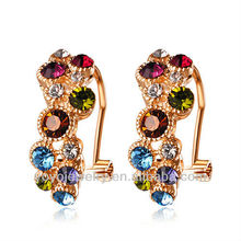 gift promotion Multi color zircon rose gold plating fashion drop earrings