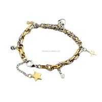 Wholesale Stainless Steel Golden Dragonfly Bracelet for Women Girls Men zz109
