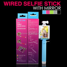 Top Electronic Gadgets 2015, Cable Connection Selfie Stick with Mirror, Selphie Manopod