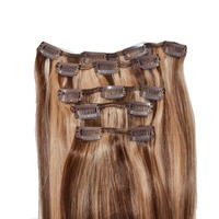 8 pieces full head full set clip in human hair extensions free sample topper remy