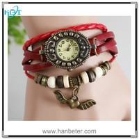 Fancy quartz wrist ladies watches 2015 for simple retro wrap leather braided watch