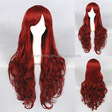 High Quality 80cm Long Curly Dark Red Synthetic Anime Lolita Wig Cosplay Costume Fashion Hair Wig Party Wig