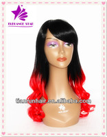 Wholesale new style ombre red long synthetic loose wave hair wig box braid wig from China