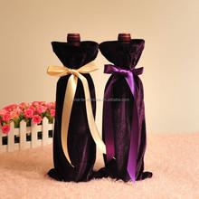 Factory custom Drawstring velvet wine gift bag with satin neck pull cord drawstring