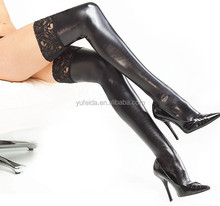 Women's Clothing Underwear Wet Look Thigh High Stockings Costume Black Leather Outfit