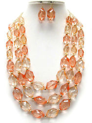 AFRICA THREE LAYERS MULTI PEACH FACTED LUCITE BEAD GOLD TONE SMALL BEAD NECKLACE SET